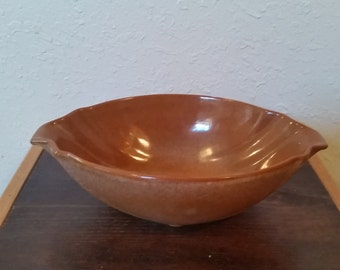 frankoma brown satin dish #201/frankoma dish/brown bowl/frankhoma/frankhoma bowl/brown frankhom bowl