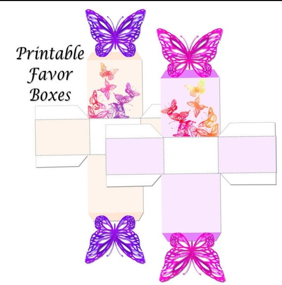 Baby Shower Thank You Gift Boxes : Butterfly printable favor box party favors