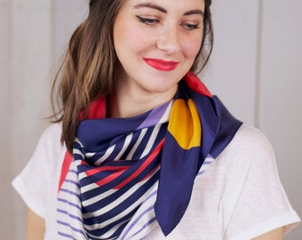Silk scarf printed, scarf woman, scarf schedules, scarf Twin Peaks, colored scarf, geometrical printed scarf, summer scarf, woman silk scarf