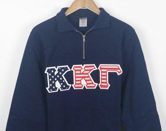 Kappa Kappa Gamma American Flag Letter Quarter-Zip Sweatshirt, KKG Letters, Embroidered Letters, Recruitment Gift, Big Little