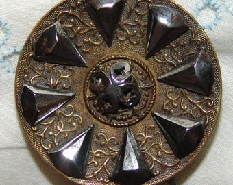 Beautiful Large Antique Brass Button ~ Lovely Fancy Floral Design ~ Escutcheon Steel Flower Shank ~ Large Cut Steel Accents