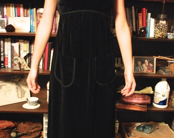 Vintage Black Velvet Maxi Dress w/ Pockets