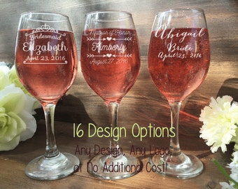 Set of 3 Bridesmaid Wine Glasses, Engraved Bridesmaid Wine Glasses, Bridal Gifts, Bridesmaid Gifts, Bridal Gifts, Maid of Honor, Anchor
