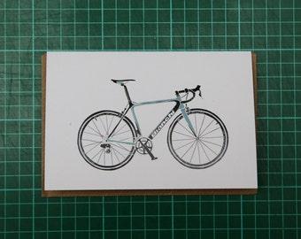 Bianchi Road Bike Illustration A6 Greeting Card