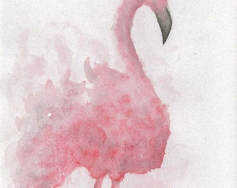 Pink Flamingo, Watercolour Flamingo, Birds Of No Flight, Animal Print, Cute Baby Shower Gift.