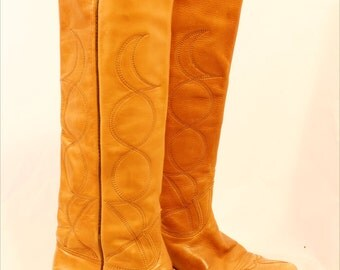 vintage 70's knee high leather boots