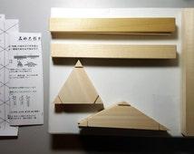 Itajime Shibori Wooden Traditional Template Set, Made In Japan