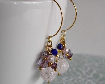 Ice Flake Quartz 22k Gold plated earrings