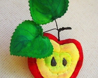 """Brooch textile painted, magnet & keychain """"Half of Apple"""""""