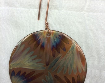 """Flame painted copper ornament 3"""""""