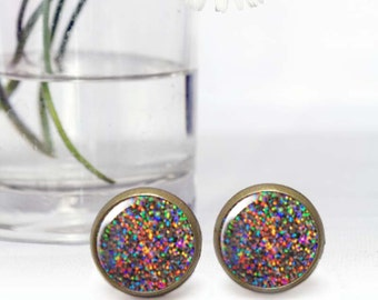 Glitter stud earrings, Tiny sparkly earrings, Round colorful Cabochon earrings, Affordable Gift for her, Photo earrings, 5074-5