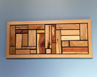 Handmade Modern Wood Wall Art made from upcycled hardwoods, Different sizes available