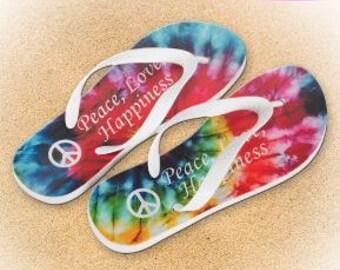 Flip Flops, Tie Dye Flip Flops, Unique gift idea