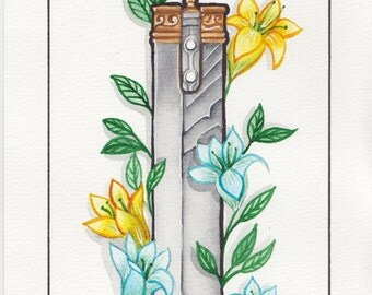 Wear, Tear & Rust. Final Fantasy 7 Buster sword Watercolour Print