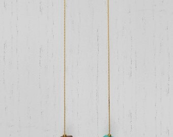 Wood painted polygons beads necklace · 24Kt matte gold plated brass chain · turquoise & chocolate · contemporary · minimalist · modern