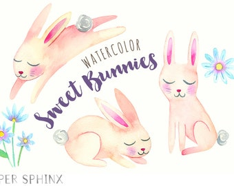Watercolor Rabbits Clipart | Printable Easter Bunnies Clip Art - Bunny Baby Shower Art - Cute for Nursery - Instant Download Digital PNG