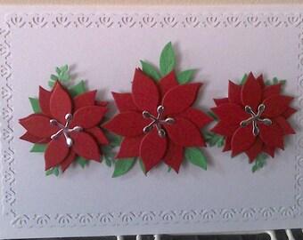 Hand made Poinsettia Christmas Cards