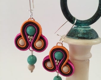 "Bright Colorful Earrings | Small Soutache Earrings ""Funk"" 