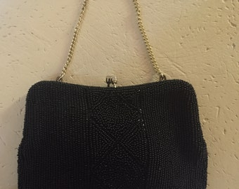 Art Deco Design Black Beaded Evening Bag with Silver Chain Handle 1940's