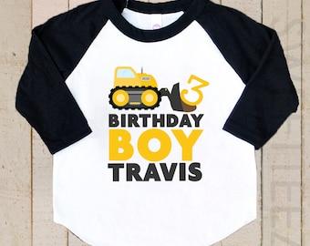 Birthday Boy Shirt Construction Truck Shirt Personalized black Raglan 3/4th Sleeve Shirt Toddler Youth Shirt