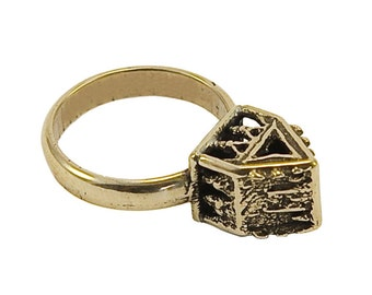 ancient jewish wedding ring with house - Jewish Wedding Rings