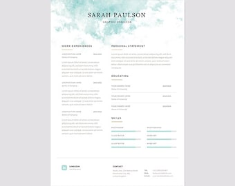 """Resume Template Instant Download + Cover Letter """"Clouds"""" 
