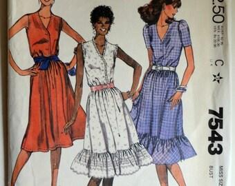 Uncut 1980s McCall's Vintage Sewing Pattern 7543, Size 12; Misses' Dress