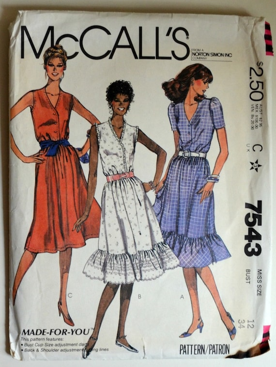 Uncut 1980s Mccall S Vintage Sewing Pattern 7543 Size 12