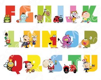 Nursery Alphabet Art, Nursery ABC wall art, Animal Alphabet Poster, Nursery Decor, Nursery Wall Art, Nursery Wall Decor, Alphabet Poster Art