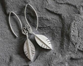Silver Leaf Earrings - Leaf Earrings - Silver Earrings - Textured Earrings - Wedding Jewellery - Bridesmade Jewellery - Birthday Gift