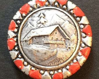 Chalet in the Snow -6 Vintage 2.5cm Buttons with Hearts around Rim