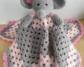 Crochet Snuggle Elephant Lovey Security Travel Piggy Wubby Baby Blanet Afghan