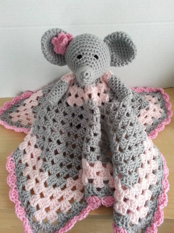 Crochet Snuggle Elephant Lovey Security Travel Piggy Wubby