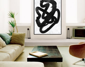 Large abstract painting On Canvas, Large Acrylic Painting, Minimalist Painting Canvas wall Art, Black White canvas painting, home decor