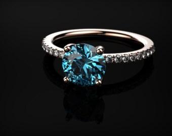 Rose Gold Engagement Ring Blue Topaz Engagement Ring Blue Gemstone Engagement Ring Gold Blue Topaz Ring December Birthstone