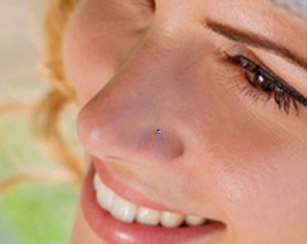 Teeny Tiny 1mm Amethyst Sterling Silver Nose Stud, Nose Ring, Silver Nose Stud, Sterling Nose Stud, 1mm Nose Stud, Tiny Nose Stud