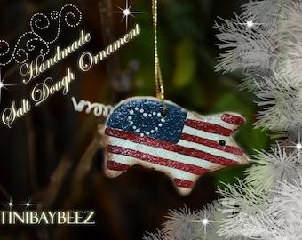 Americana Pig Salt Dough Cinnamon Ornament
