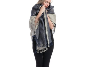 Hand crafted linen shawl in natural & blue