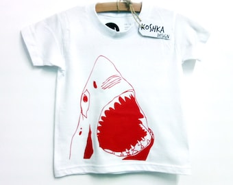 The shark baby/kids screen printed t-shirt 100% cotton