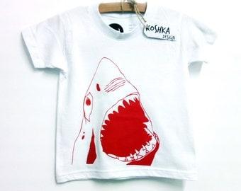 The shark baby/kids screen printed t-shirt 100% cotton
