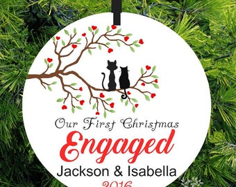 Engagement Chrirstmas Ornament | First Christmas Ornament | Engagment Gift | Large Glass Ornament - Lovebirds Christmas