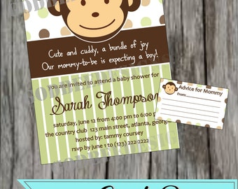 Little Monkey Baby Shower Invitation BA963