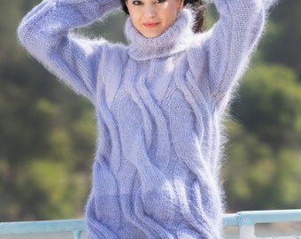 To Order Purple Shades Hand Knitted Mohair Sweater Dress Turtleneck Jumper Cable knit sweater by TanglesCreations