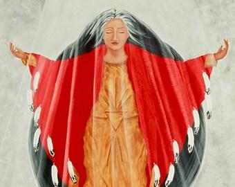 "Giclee Print Fine Art Paper Native American Print Surreal Print Metaphysical Print ""Transcendence"""