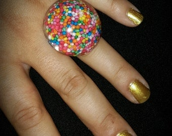 Sprinkle ring. 100s & 1000s.  Candy Jewellery
