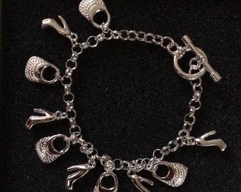 Handbags and Stilettos Charm Bracelet