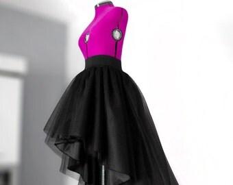 High low tulle skirt Full maxi skirt Long black tulle skirt Ball gown Asymmetrical skirt Long satin skirt Wedding gown Prom skirt High waist