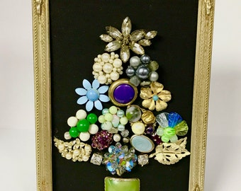 Adorable Framed Jeweled Christmas Tree Decoration / Make It Your Family's Heirloom