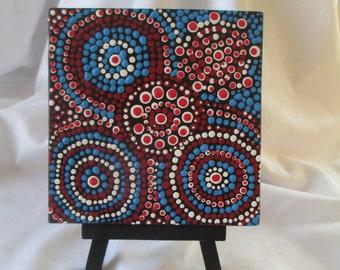 Dot painting, American Pride painting, Kitchen Art, Acrylic Dot painting, #367, Aboriginal inspired art, Dot Art, Small painting