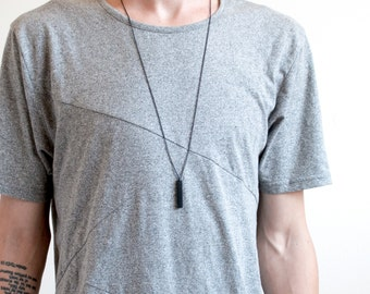 Men's Bar Necklace, Wood Necklace, Bar Necklace, Wood Bar Necklace, Black Chain Necklace, Minimal Mens Necklace || THE COLUMN